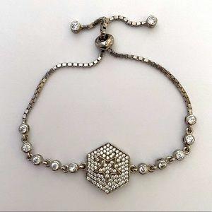 Hexagon bracelet 925 silver star cz stones slider